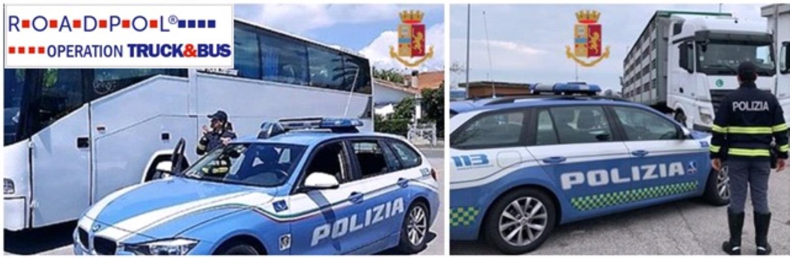 """images Le Polizie Stradali europee impegnate nella settimana della Campagna Europea """"Truck & Bus"""" dall'11 al 17 ottobre 2021"""
