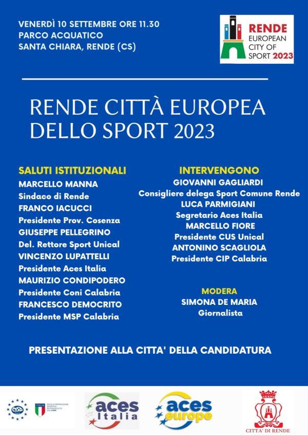 images Rende Città Europea dello Sport 2023: Venerdì la presentazione ufficiale della candidatura