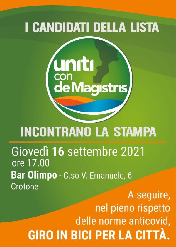 """images Regionali. Domani, a Crotone, """"Uniti con de Magistris"""" si presenta agli elettori"""