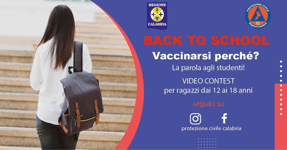 images Back to school. La Protezione Civile Calabria lancia un video contest  per sensibilizzare la vaccinazione nella fascia 12-18 anni