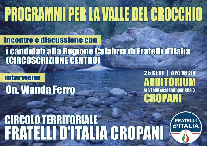 """images """"Prospettive sulla valle del Crocchio"""", domani Wanda Ferro a Cropani con i candidati della Circoscrizione centro"""
