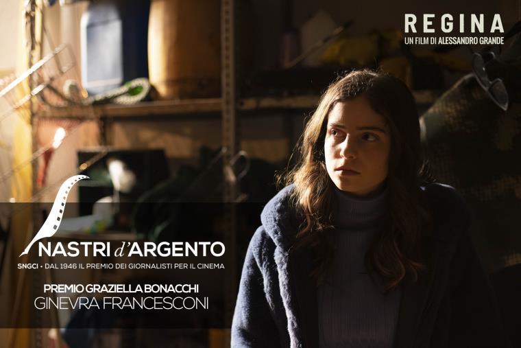 """images Nastri d'Argento 2021. Il Premio """"Graziella Bonacchi"""" a Ginevra Francesconi, interprete nel  film """"Regina"""" del catanzarese Alessandro Grande"""