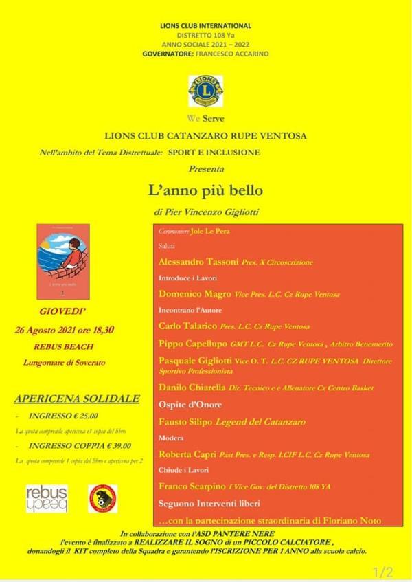 """images """"Sport e inclusione"""". Asd Pantere nere e Lions Club Rupe Ventosa presentano il libro """"L'anno più bello"""" di Pier Vincenzo Gigliotti"""