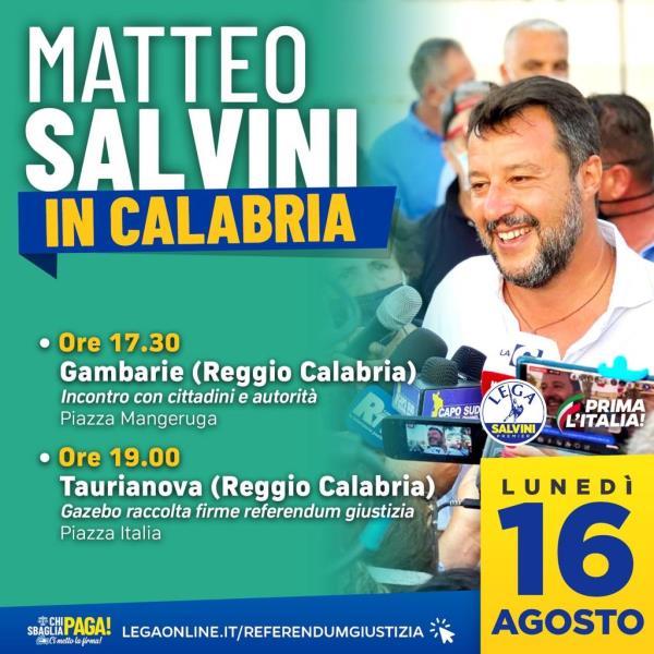 """images Salvini in Calabria, Saccomanno: """"Unico leader a stare accanto ai calabresi"""""""