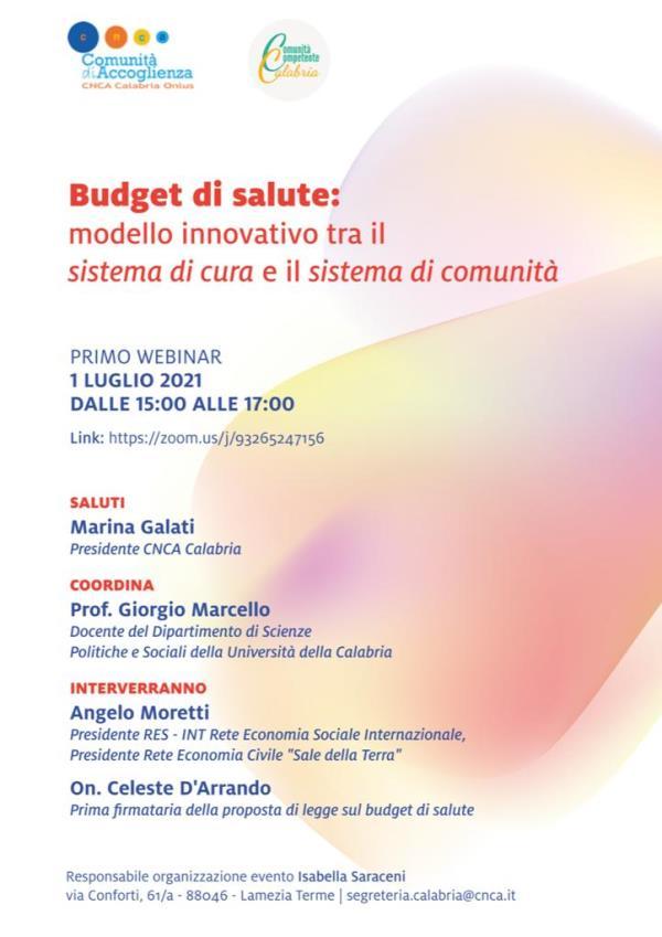 """images """"Budget di salute: modello innovativo tra il sistema di cura e il sistema di comunità"""": se ne parla giovedì in webinar"""