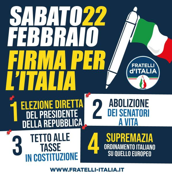 images Parte la raccolta firme di Fratelli d'Italia: elezione diretta del Presidente della Repubblica, tetto alle tasse, prima l'ordinamento italiano e via i senatori a vita