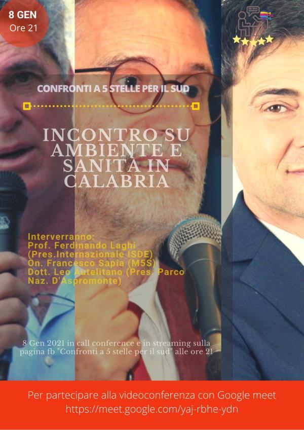 images Ambiente e sanità in Calabria. Venerdì incontro online con Ferdinando Laghi, Francesco Sapia (M5S) e Leo Autelitano