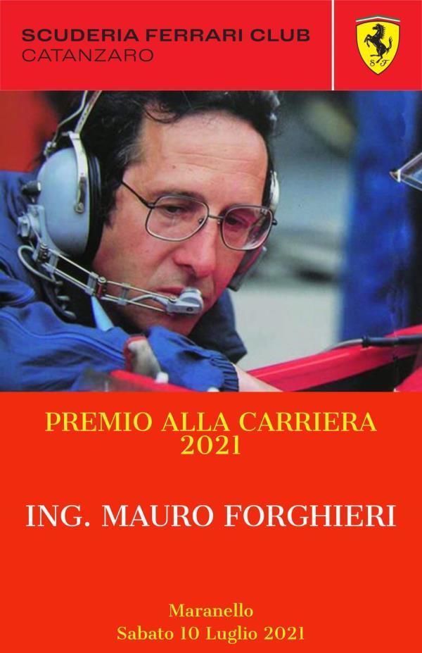 """images La Scuderia Ferrari Club di Catanzaro vola a Maranello per consegnare il """"Premio alla Carriera 2021"""" all'ingegnere Mauro Forghieri"""
