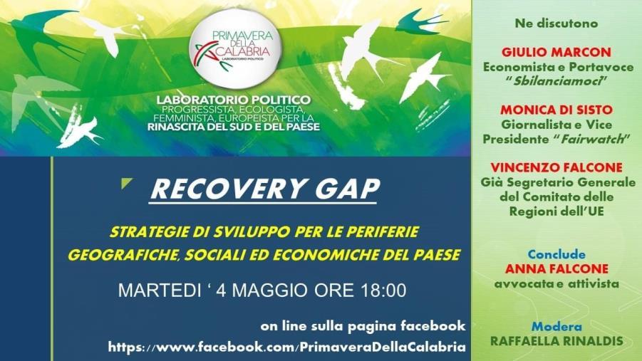 """Martedì un convegno di """"Primavera della Calabria"""": si parlerà di """"Recovery Gap"""""""