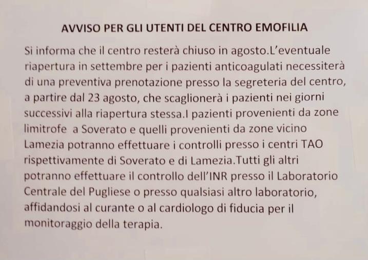 """images Catanzaro. L'ambulatorio di Emofilia del 'Pugliese' chiude ad agosto, il Codacons: """"Interruzione di pubblico servizio"""""""