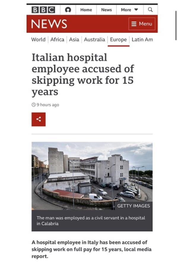 """images Il caso del dipendente ospedaliero """"fantasma"""" per 15 anni oltrepassa i confini, se ne occupa anche la BBC"""