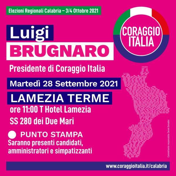 images Regionali. Brugnaro (Coraggio Italia) torna in Calabria: domani atteso a Lamezia Terme