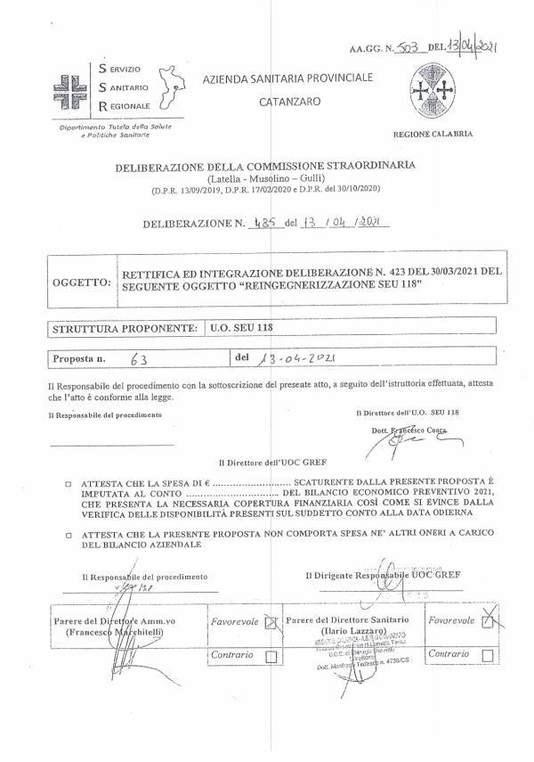 images Suem 118, nuova delibera dell'Asp: Pet medicalizzata a Soveria Mannelli ma nessuna novità per Girifalco
