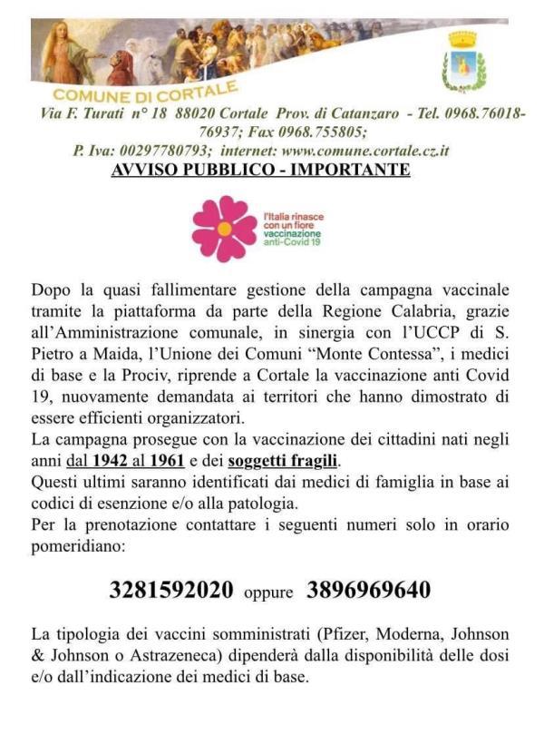 """images Riprende la campagna vaccinale a Cortale: """"Quasi fallimentare quella regionale"""""""
