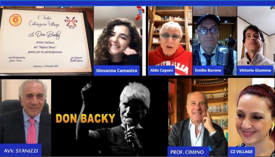 """images Catanzaro Village consegna la targa """"1° Trofeo"""" a Don Backy, nel live streaming del """"Digital Show"""""""