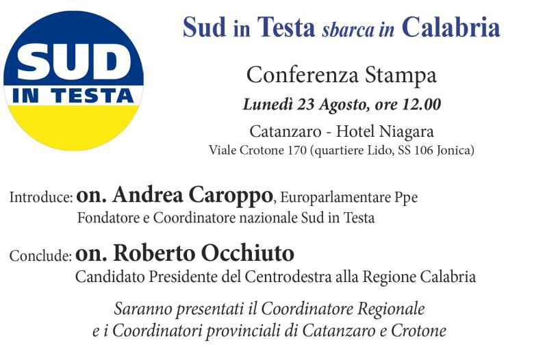 """images """"Sud in testa"""" sbarca in Calabria: lunedì a Catanzaroconferenza stampa con Occhiuto e Caroppo"""
