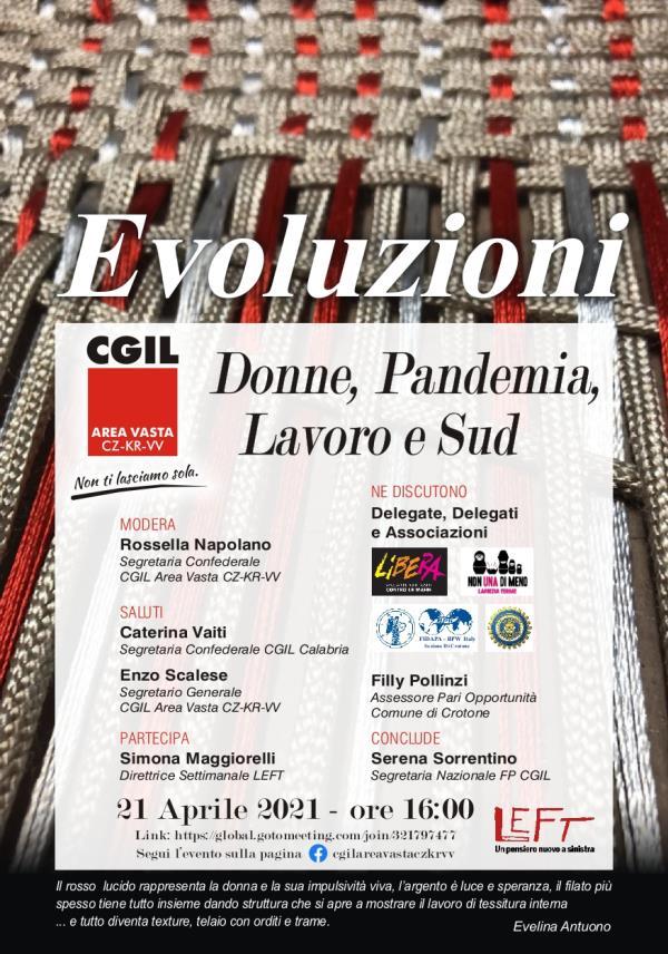 """images """"Lavoro, donne, pandemia e sud"""": domani on line l'incontro della CGIL Area Vasta Catanzaro-Crotone-Vibo Valentia"""
