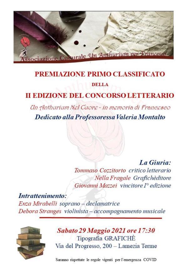 """images Lamezia Terme. """"Un Anthurium nel cuore- in memoria di Francesco"""", sabato la premiazione del vincitore del concorso letterario"""
