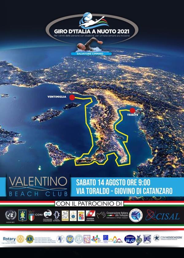 """images """"Giro d'Italia a nuoto 2021, per i diritti delle persone con disabilità per un'Italia sempre più inclusiva"""": sabato la prima tappa calabrese a Catanzaro"""