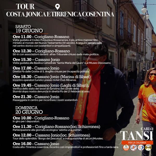 images Tour Carlo Tansi, weekend in giro per le coste jonica e tirrenica del cosentino