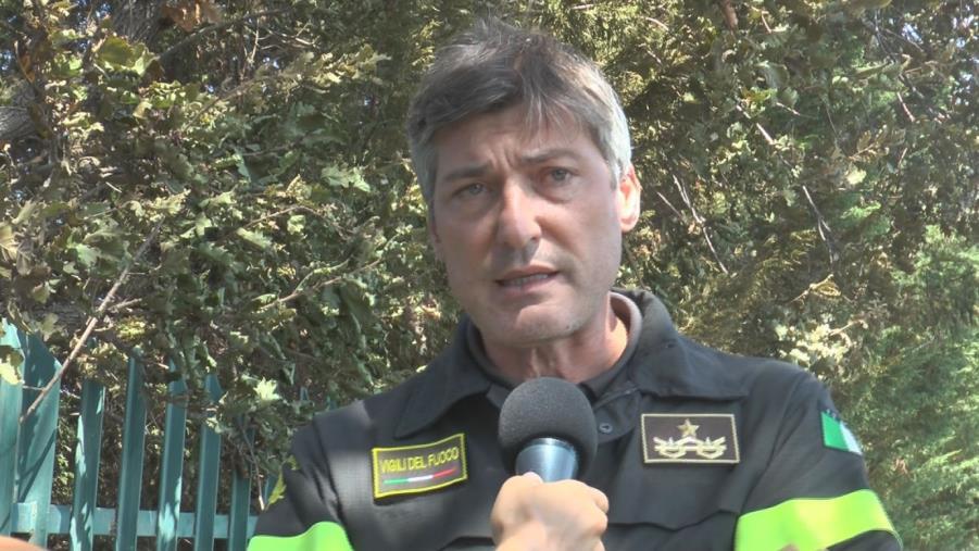 """images Incendi a Catanzaro. Cuzzocrea (Vigili del Fuoco):""""Ora attività di bonifica. 100 unità in provincia"""""""