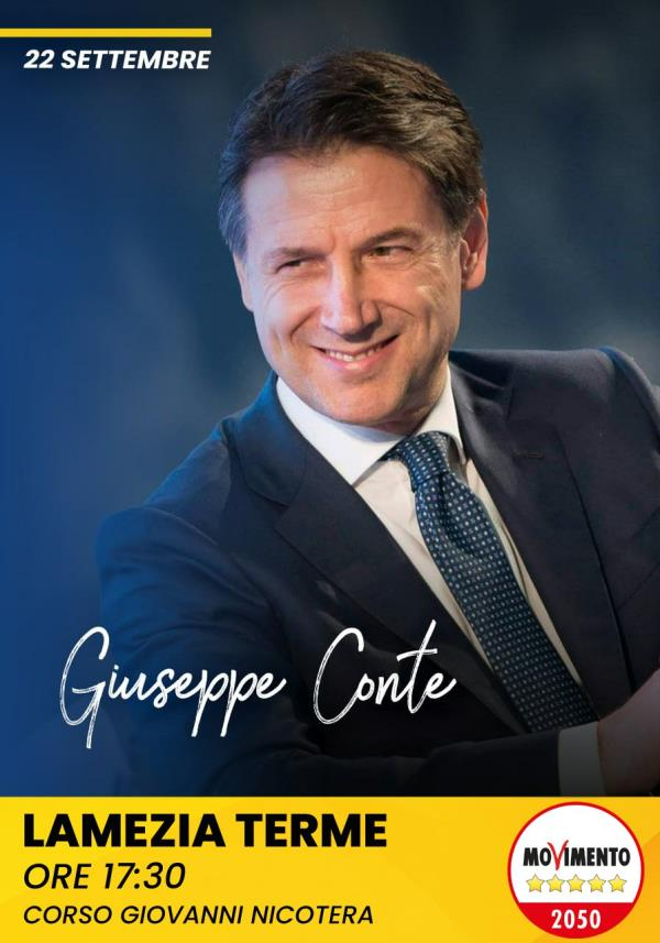Regionali. Il 22 settembre Giuseppe Conte a Lamezia Terme