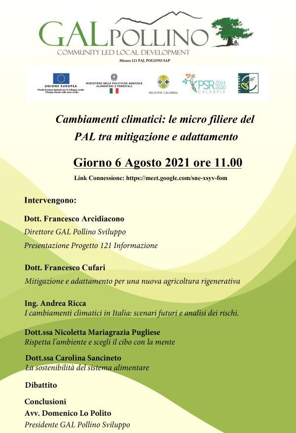 """images Castrovillari. Gal Pollino, si discuterà di """"Cambiamenti climatici: le micro filiere del PAL tra mitigazione e adattamento"""""""