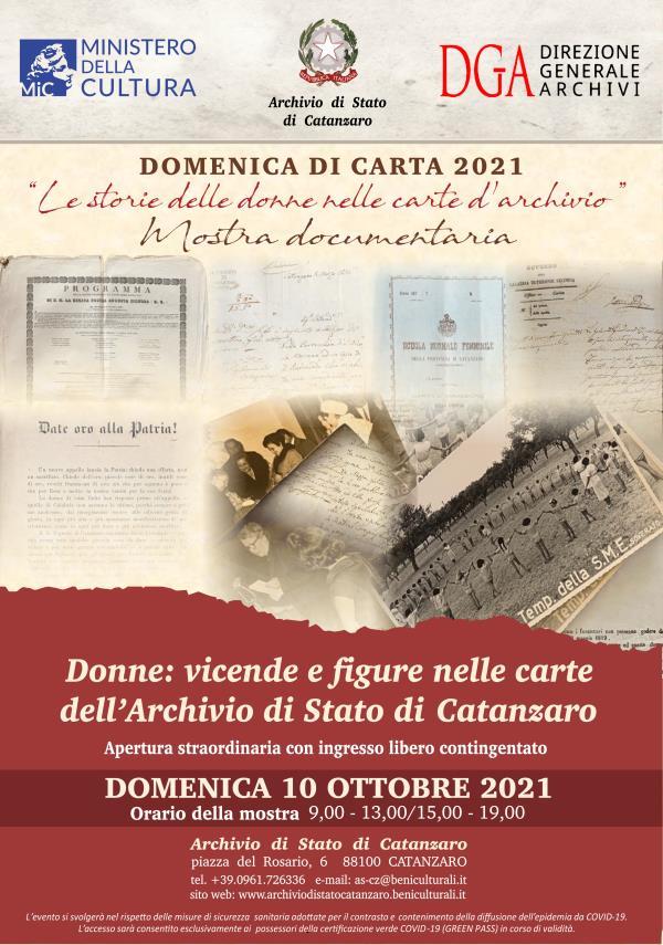 """images Catanzaro. Si rinnova l'appuntamento con """"Domenica di Carta"""", quest'anno con """"Le storie delle donne nelle carte d'archivio"""""""