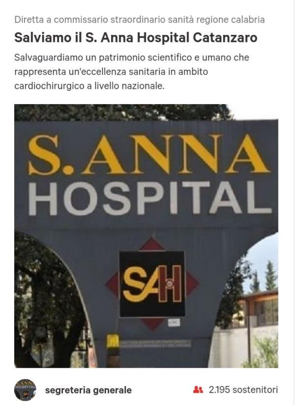 images Sant'Anna hospital. Petizione per salvare la clinica e sollecitare il commissario Longo: raccolte oltre 2000 le firme