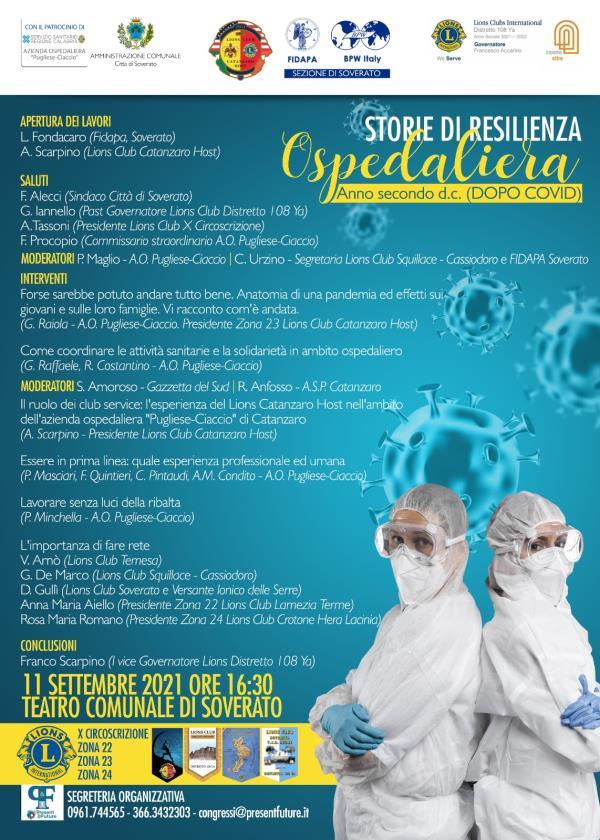 """Sabato a Soverato """"Storie di resilienza ospedaliera"""" con il dottore Giuseppe Raiola"""