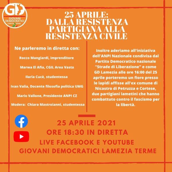 """images """"Dalla Resistenza partigiana alla Resistenza civile"""": il 25 aprile online il confronto dei Giovani Democratici di Lamezia"""