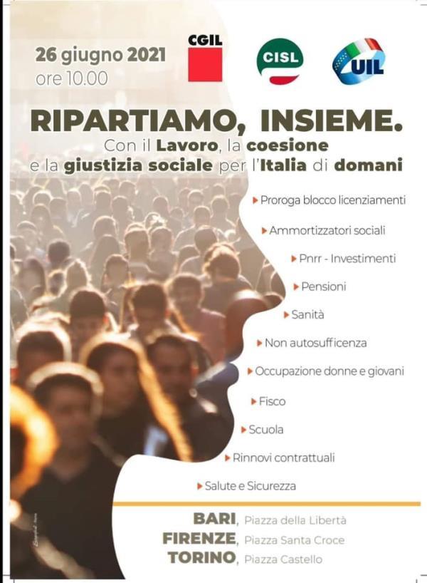 """images Cgil, Cisl e Uil Calabria: """"Il 26 a Bari per la grande mobilitazione nazionale unitaria articolata per territori"""""""