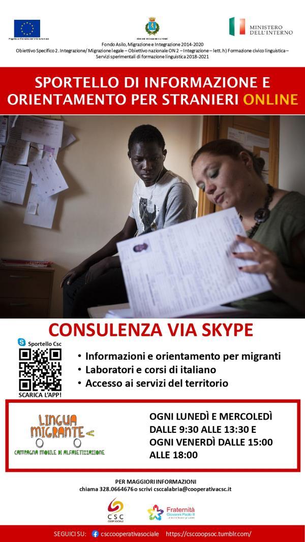 images A Cassano allo Ionio attivo online lo sportello di informazione e orientamento per stranieri