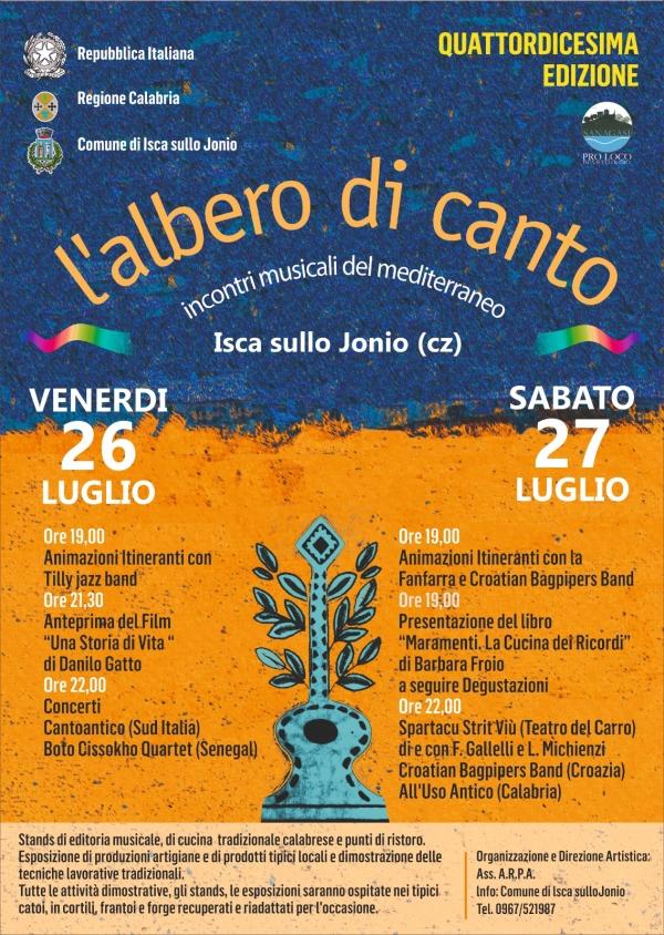 """images Isca sullo Jonio, parte oggi la  XIV edizione de """"L'Albero di Canto""""."""