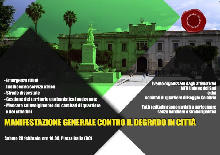 images Contro il degrado della città di Reggio: sabato 20 febbraio in piazza Miti Unione del Sud e i Comitati di quartiere