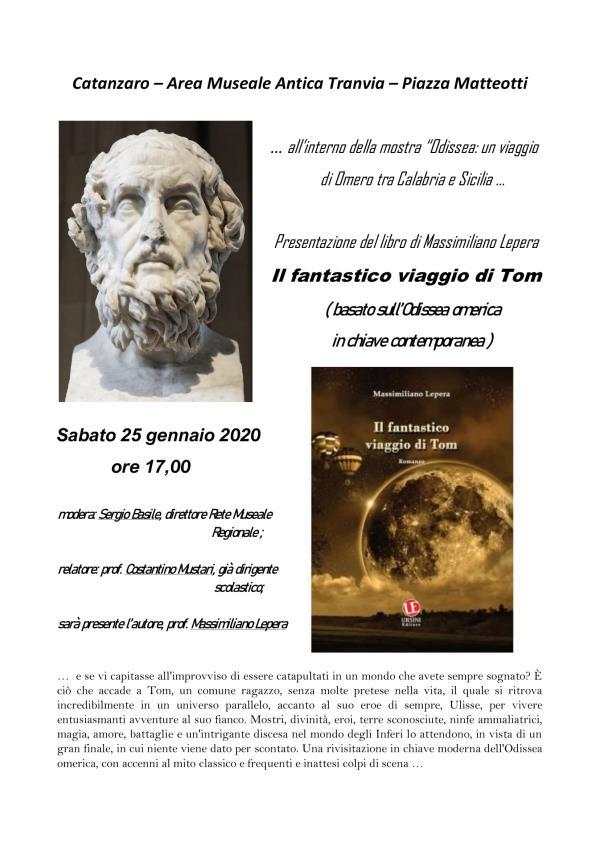 """images Il 18 gennaio a Catanzaro presentazione del romanzo di Massimiliano Lepera """"Il fantastico viaggio di Tom"""""""