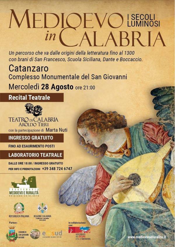 """images Il 28 agosto a Catanzaro il Teatro di Calabria con """"Medioevo in Calabria-I secoli luminosi"""""""