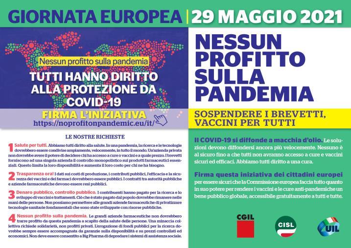 """images Giornata europea """"No profit on pandemic, nessun profitto sulla pandemia"""": Cgil, Cisl e Uil domani a Cosenza"""
