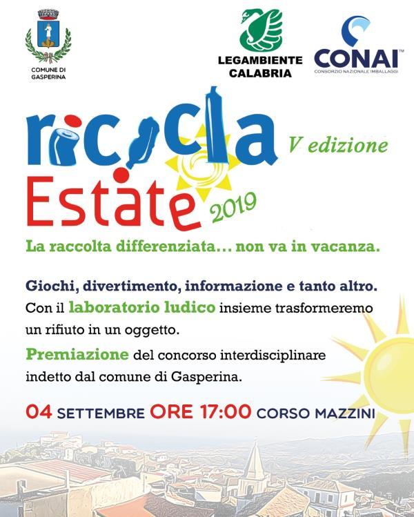 """images A Gasperina la V edizione di """"Ricicla Estate 2019"""""""