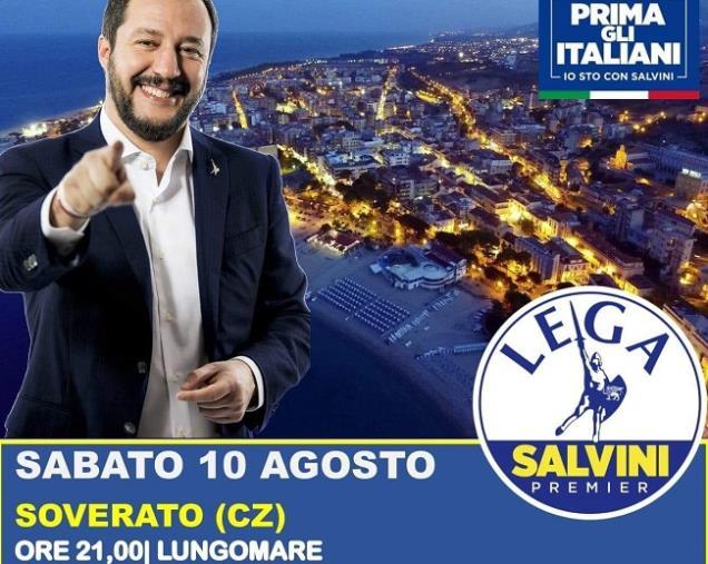 images Salvini arriva a Soverato per il tour politico estivo