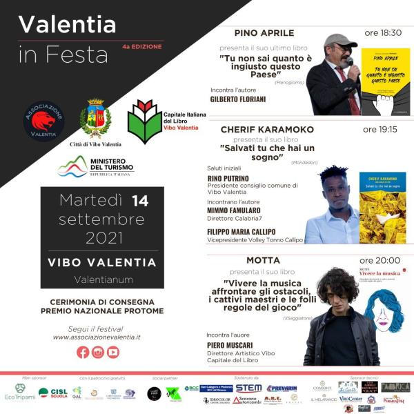 images Valentia in Festa. Domani l'ultima serata della kermesse con Pino Aprile, Cherif Karamoko e Motta