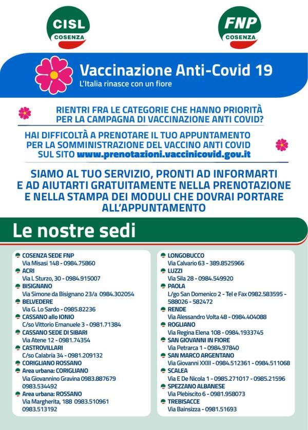 images Nelle sedi CISL del cosentino assistenza gratuita per  prenotare il vaccino Covid-19 sulla piattaforma dedicata