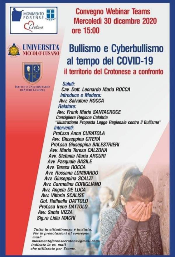 images Bullismo e Cyberbullismo al centro del webinar organizzato dal Movimento Forense di Crotone