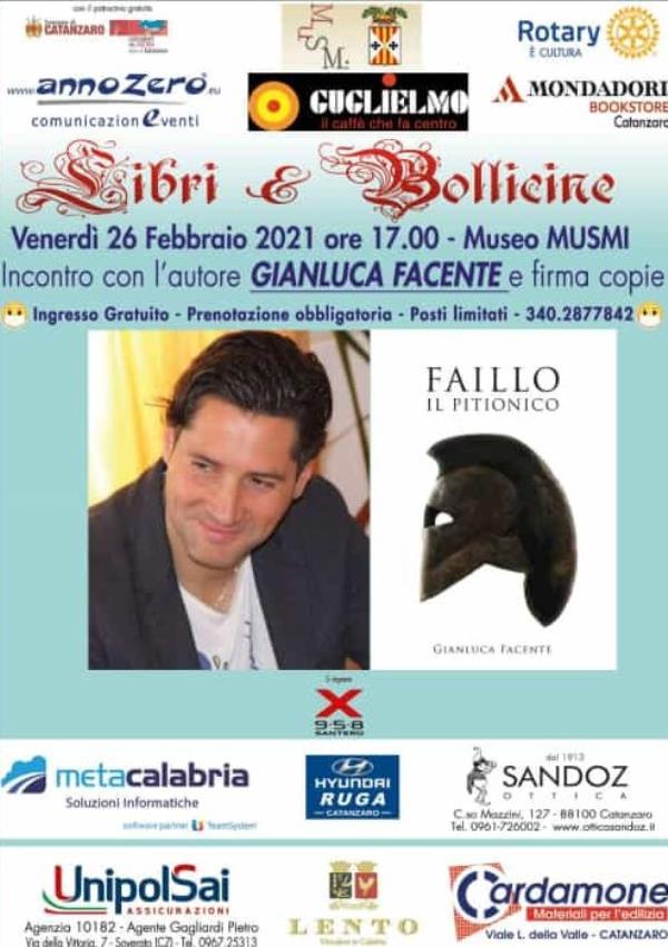 """images """"Libri&Bollicine"""", lo scrittore crotonese Gianluca Facente il 26 febbraio al Musmi di Catanzaro"""