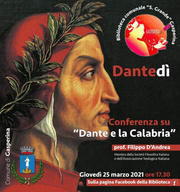 """images Dantedì. La conferenza della biblioteca di Gasperina su """"Dante e la Calabria"""" col prof. D'Andrea"""