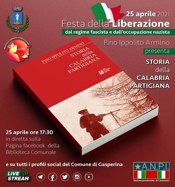 """images """"Storia della Calabria partigiana"""", per il 25 aprile la Biblioteca di Gasperina presenta il libro di Pino Ippolito Armino"""