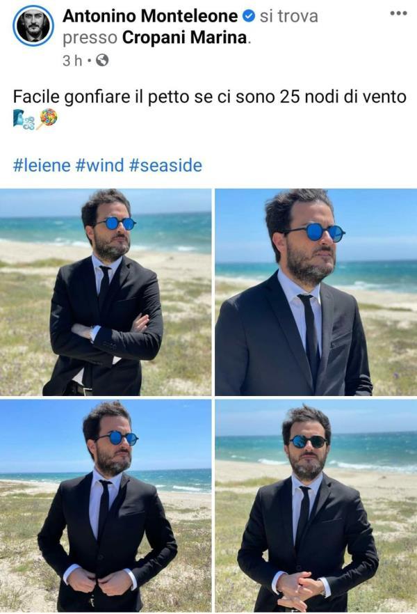 images Sole in faccia e vento tra i capelli: 'la Iena' Antonino Monteleone posta una foto dal lungomare di Cropani