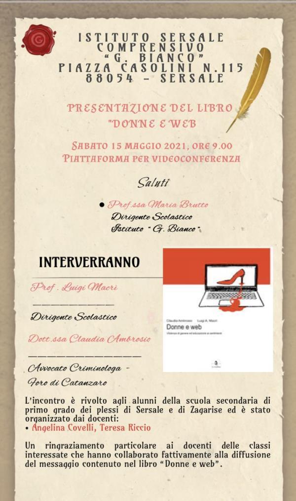 """images """"Donne e web"""": oggi la presentazione del libro per gli alunni dell'Istituto Comprensivo G. Bianco di Sersale e Zagarise"""