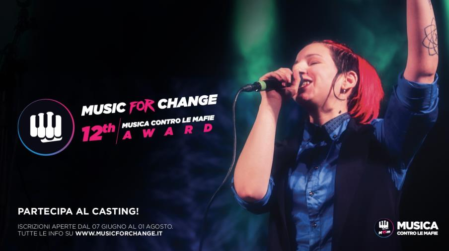 """images """"Musica contro le mafie Award"""" per la sua XII edizione si trasforma in """"Music for change"""": da oggi le iscrizioni (VIDEO)"""