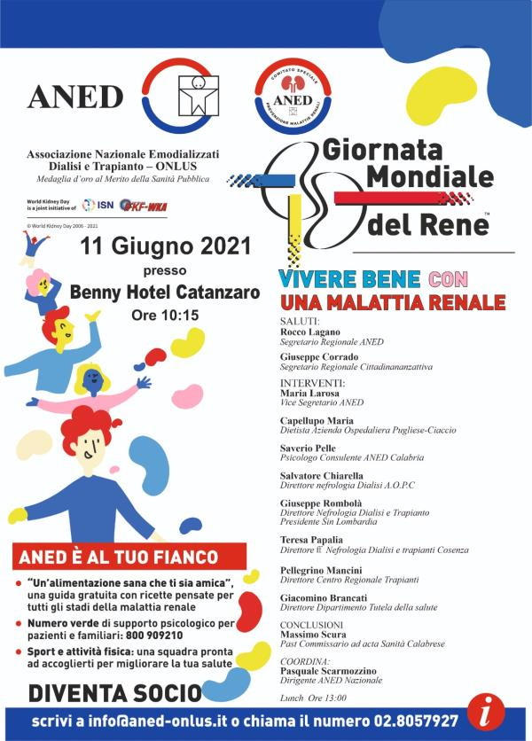 L'11 giugno a Catanzaro si celebrerà la Giornata Mondiale del Rene